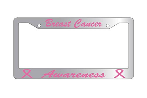 Breast Cancer Awarness Script Chrome Plastic License Plate Frame 656 (Script License Plate Frame compare prices)