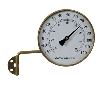 Chaney Instrument 6 Inch Brass Finish Thermometer With Bracket