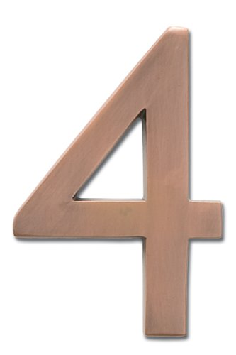 Architectural Mailboxes 3585AC-4  Brass 5-Inch Floating House Number 4, Antique Copper (House Numbers Copper compare prices)