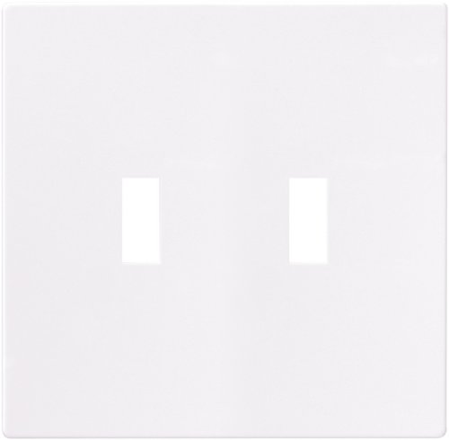 Cooper Wiring Devices PJS2W Polycarbonate 2-Gang Screwless Toggle Switch Mid Size Wall Plate, White