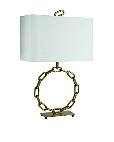 Home Philosophy Industrial Welded Chain Circle 1-Light Lamp, Brass