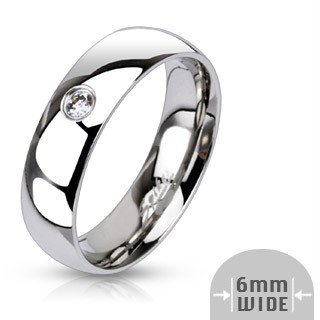 316L Stainless Steel Single CZ Mirror Polished Classic Wedding Ring 6mm Size 10