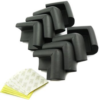 Comicfs Thick Baby Safety Softener Table Edge Guard Protector / Corner Cushions, Black, 8pcs, with Comicfs Cleaning Cloth.