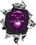Mini Ripped Torn Metal Decal with Purple Skull -REFLECTIVE