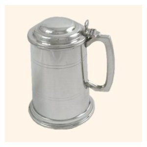 One Pint Lined Pewter Tankard with lid - Engraved Free