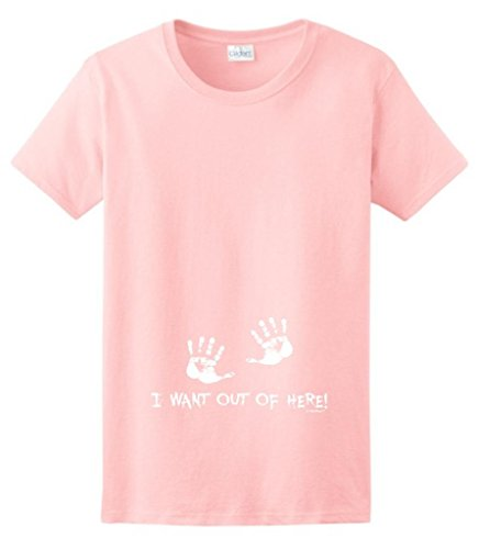 I Want Out Of Here Funny Maternity Themed Ladies T-Shirt Xl Light Pink front-1077293