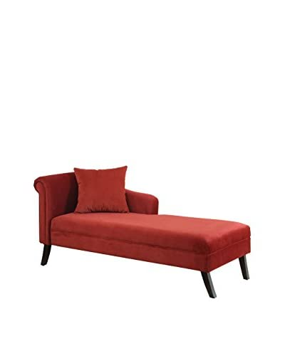 Armen Living Patterson Chenille Chaise, Maroon
