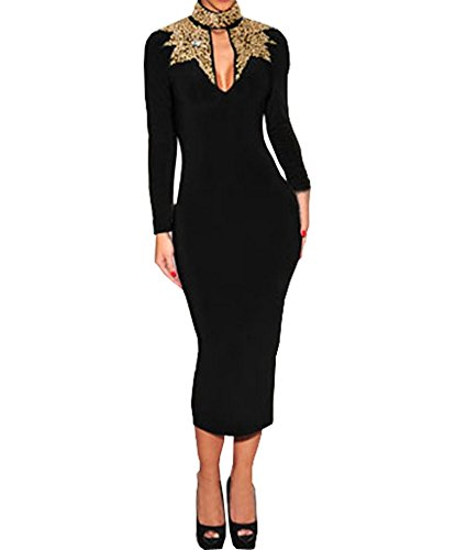 Graceful Ladies Black Gold Sequins Mock Neck Long Sleeves Midi Evening Dress (L, Black)