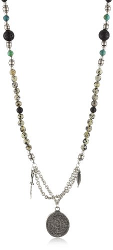 Ettika Men's Silver Colored Assorted Round Beads Necklace Phaistos, Shield and Dagger