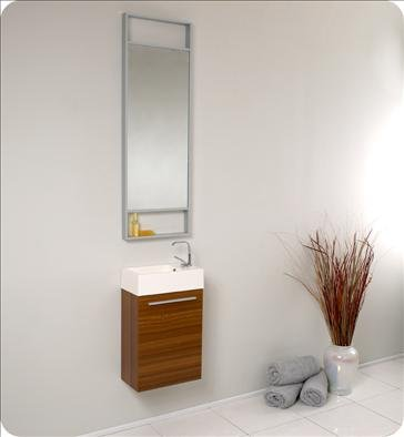 Fresca FVN8002TK Pulito Small Teak Modern Bathroom Vanity w/ Tall Mirror