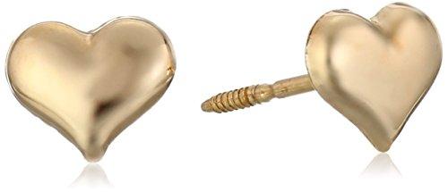 Kate & Lucy Girls  14k Gold Puffed Heart Stud Earrings