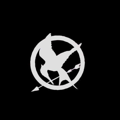 Hunger Games Mockingjay Symbol Car Window Decal Sticker Metallic Silver 4