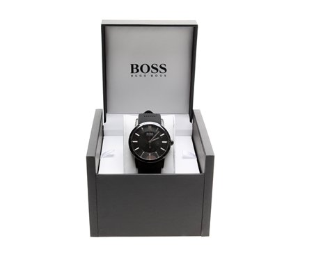 Hugo Boss 1512954 Black Silicone Strap Black Dial Men'S Watch
