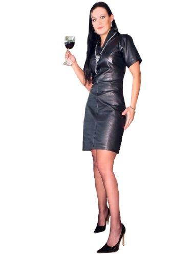 Fetish-Design Leder-Kleid Schwarz Größe S