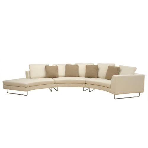Modern Furniture Black Leather Curved Long Sectional Sofa