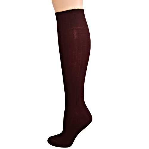 Dark Brown Ribbed Knit Knee High Socks