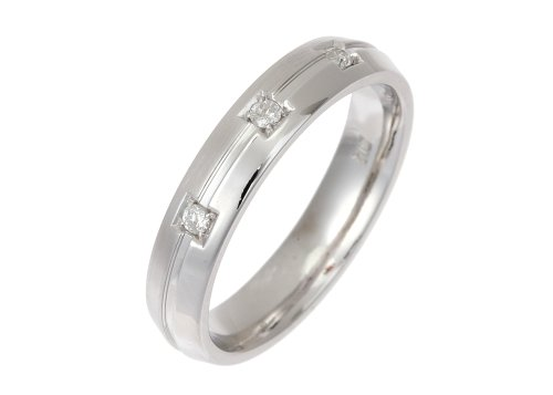 Trilogy Wedding Ring, 9 Carat White Gold with Matte Finish, 4mm Band Width