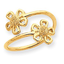 Genuine IceCarats Designer Jewelry Gift 14K Flower Toe Ring Size 0.00