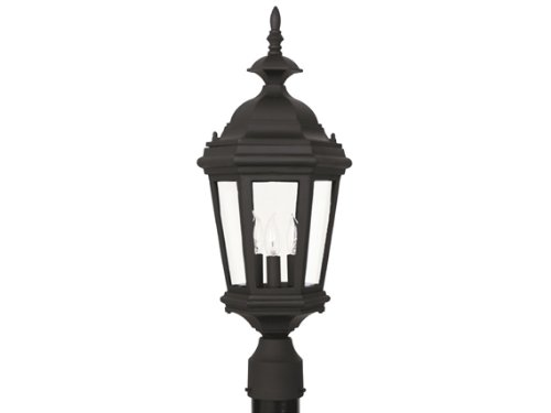 Kenroy Home 16316BL Estate 3-Light Post Lantern, Black