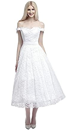buy Lava-Ring Women'S Off-Shoulder Backless Bowknot Tea Length Lace Wedding Dress White Us06