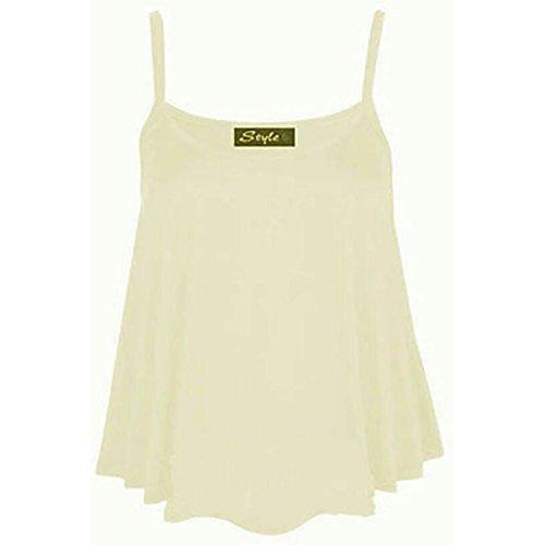 Donna CAMI senza maniche swing Gilet Tinta Unita Da Donna Strappy svasato Plus Size Top 8-26 Cream M / L