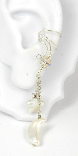 Long Dangle Sterling Silver Ear Cuff with Cold Water Pearl Moon and Star Earring for Left Ear