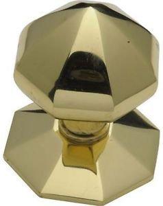 Octagonal Centre Door Knob - Brass by New A-Brend