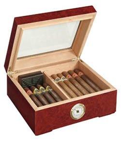 Cigar Humidor with Feet and Burl Wood Finish