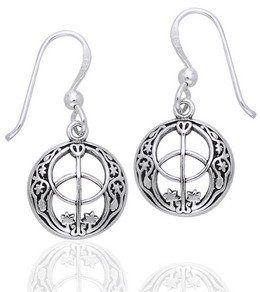Sacred Chalice Well Geometric Symbol of Avalon in Glastonbury Sterling Silver Hook Earrings