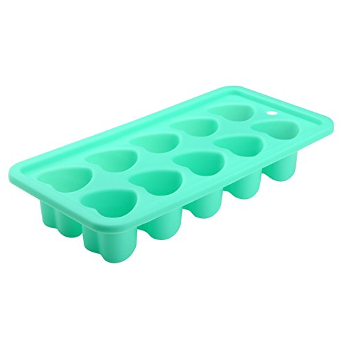Zodaca Food Grade Silicone Heart Shape Candy Molds Ice Cube Trays for DIY Making Homemade Chocolate, Jelly, Gummy & Soap, Mint Green (Hearts Ice Cube Tray compare prices)