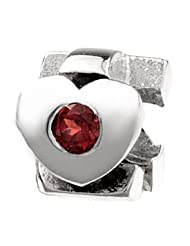 Silverado 'Garnet - January' Silver Charm - Fits On Pandora Chamilia And Troll Bracelets