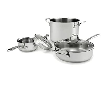 Wolfgang Puck Stainless Steel Cookware Set - 18 pc (Oven safe and great for baking)