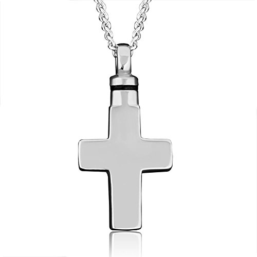 Urn Necklace Stainless Steel Cross Keepsake Memorial Necklace For Ashes Cremation Jewelry Pendants (Cross Urn compare prices)