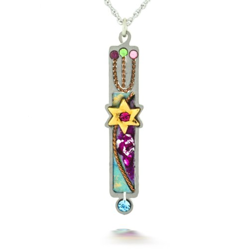 Purple Mezuzah Necklace (decorative only) from the Artazia Collection #618PU JN