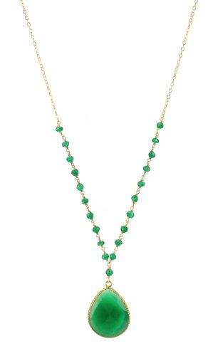 Green Agate Flat Faceted Tear Drop Pendant Necklace and Rondelles on Gold Plated Sterling Silver Chain Necklace, 18