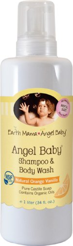 Earth Mama Angel Baby Organic Angel Baby Shampoo & Body Wash, Refill Size, 34-Ounce Bottle