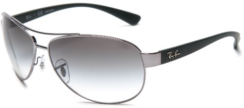 Ray Ban Men's Rb3386 Shiny Gunmetal Frame/Green Gradient Lens Metal Sunglasses, 63mm