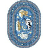 """Joy Carpets Kid Essentials Infants & Toddlers Oval Hey Diddle Diddle Rug, Yellow, 5'4"""" x 7'8"""""""