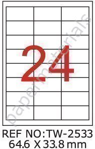 TANEX TW-2533 - Etiquettes D'Adresse Pour Enveloppes A6, Blanc, 64,6 x 33,8 mm - Carré - 500 Feuilles A4