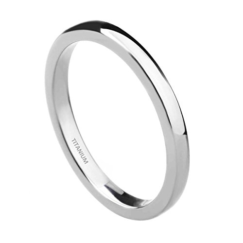 TIGRADE Titanium Metal 2MM Plain High Polished Dome Thin Wedding Band Ring Size 4-11 (Titanium, 8) (Titanium Wedding Rings For Women compare prices)