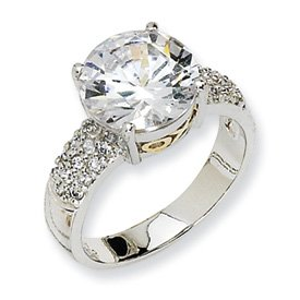 Genuine IceCarats Designer Jewelry Gift Sterling Silver & Gold-Plated X & O Cz Ring Size 8.00