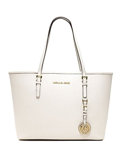 Michael Michael Kors Womens Small Jet Set Travel Tote, Optic White, One Size