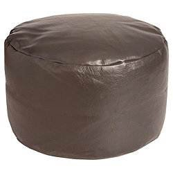 New Bean Bag Footstool Pouffe Round Footrest Stool Rest - Chocolate Faux Leather