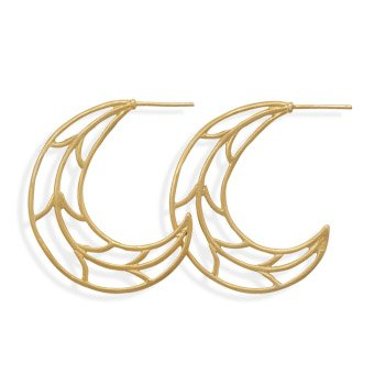 Sterling Silver 14 Karat Gold Plated Crescent Moon Hoops