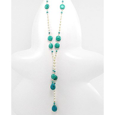 June and December Birthdays! Turquoise and Freshwater Pearl Necklace.
