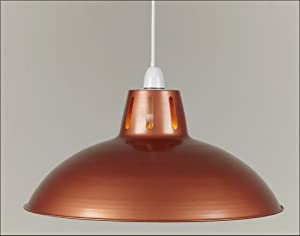 """17"""" Copper Retro Large Metal Coolie Glossy Lampshade Ceiling Pendant Modern Light Fitting"""