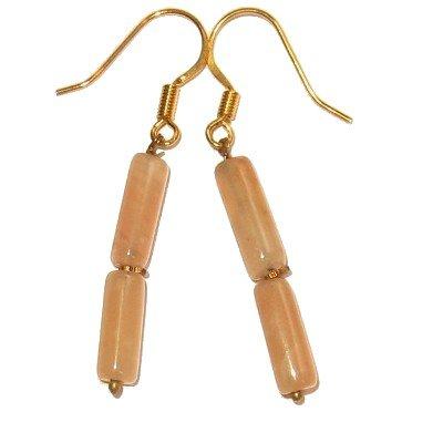Calcite Earrings 04 Dangle Pink Yellow Rod Crystal Healing Gemstone 1.5