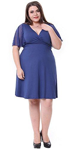 Sapphyra® Women's Plus Cut V-neck Solid Color Lace Short Sleeve Cocktail Dress