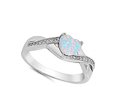 White Simulated Opal Infinity Knot Heart Ring New .925 Sterling Silver Band Sizes 4-12