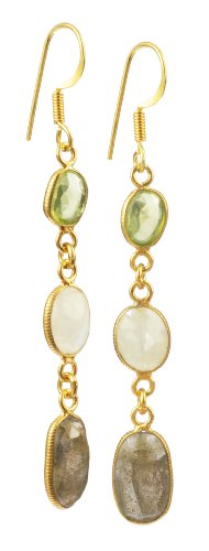 Faceted Peridot, Rainbow Moonstone, and Labradorite Elliptical Bezel Bead with Gold Plated Sterling Silver Earwire Drop Earrings